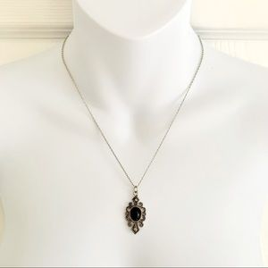 3/$25 - Black Stone and Filigree Necklace